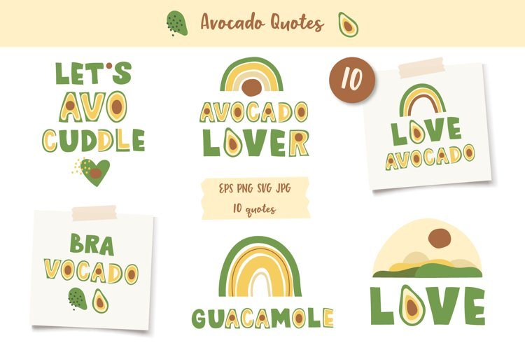 Avocados Quotes, Avocado Rainbow lettering, EPS, PNG