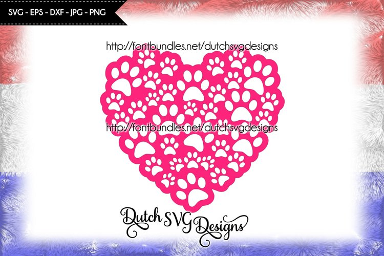 Cut file pawprints in heart shape, paw svg, heart svg