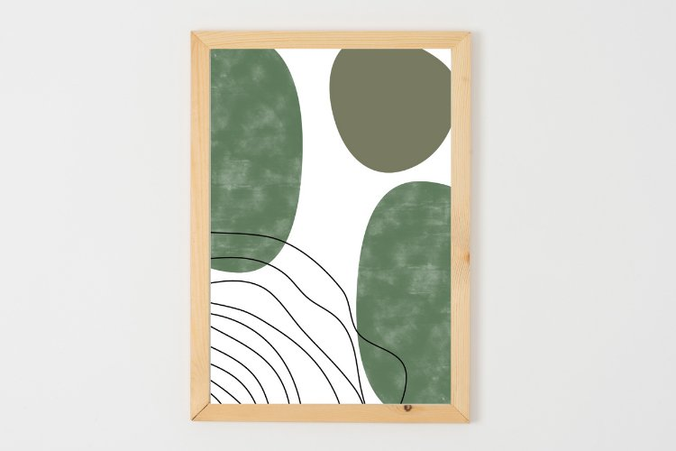 Green Abstract Print Instant Download, Lines Wall Art
