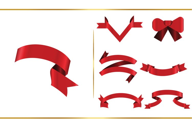 Ribbons clipart SVG bundle, Premium Red Ribbon example image 1