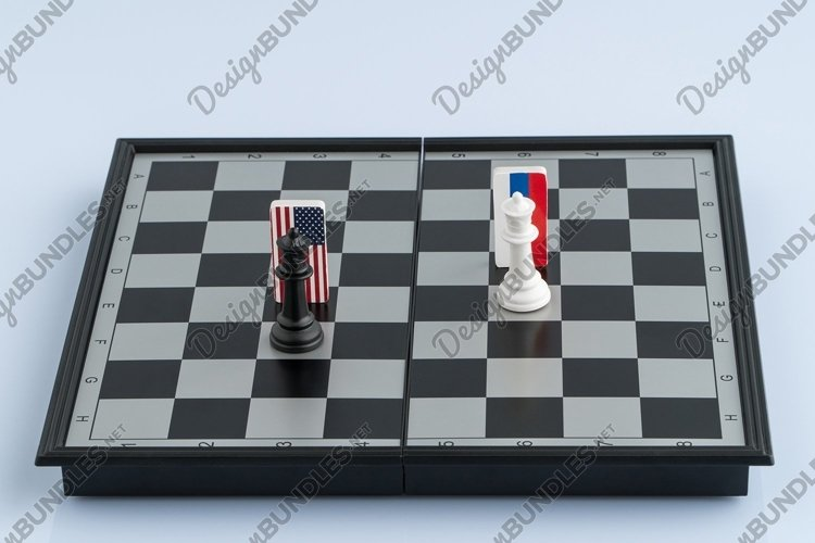 Chessboard with flags of countries. Political game example image 1