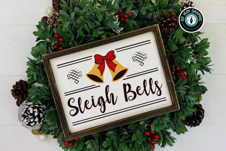 Christmas Sleigh Bells Sign Farmhouse SVG Design