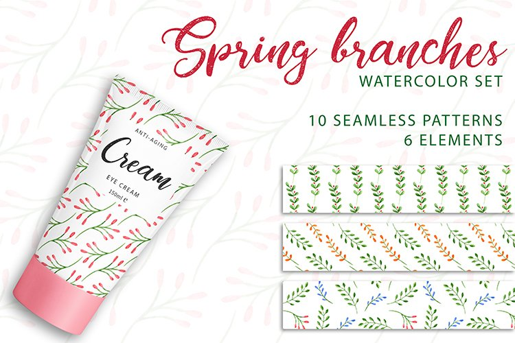 Spring branches. Watercolor set. PNG, JPG example image 1