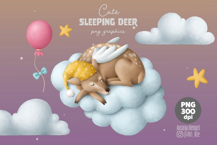 Sleeping baby reindeer clipart example image 1