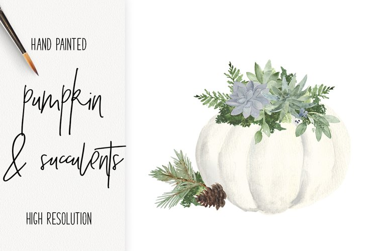 White Pumpkin & Succulent Fall arrangements Clip Art PNG