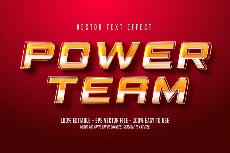 Power team text, sport style editable text effect example image 1