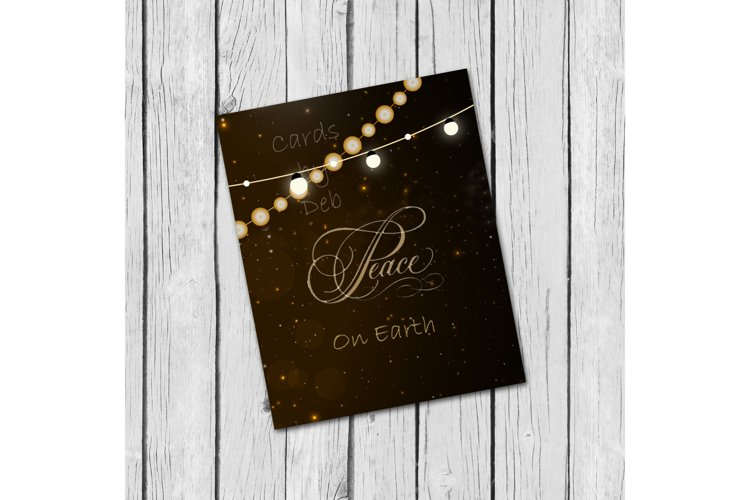 Digital Christmas Card, Printable Digital Christmas Card, Gold Peace on Earth Card, Black and Gold Christmas Card, Happy Holidays Card, Instand Download Card Description example image 1
