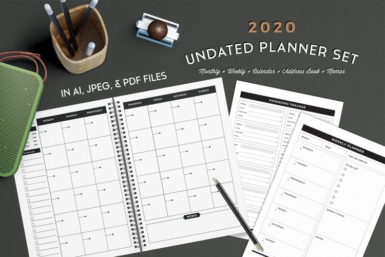 Undated Planner Set - included 2020 calendar example image 1