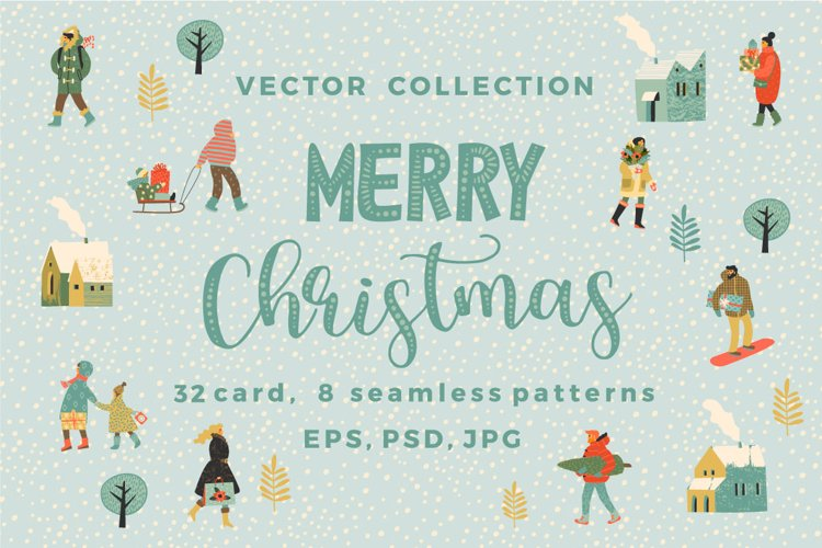 Merry Christmas vector collection example image 1