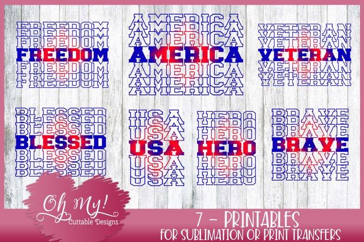 Patriotic Stacked Bundle - 7 Designs Sublimation designs