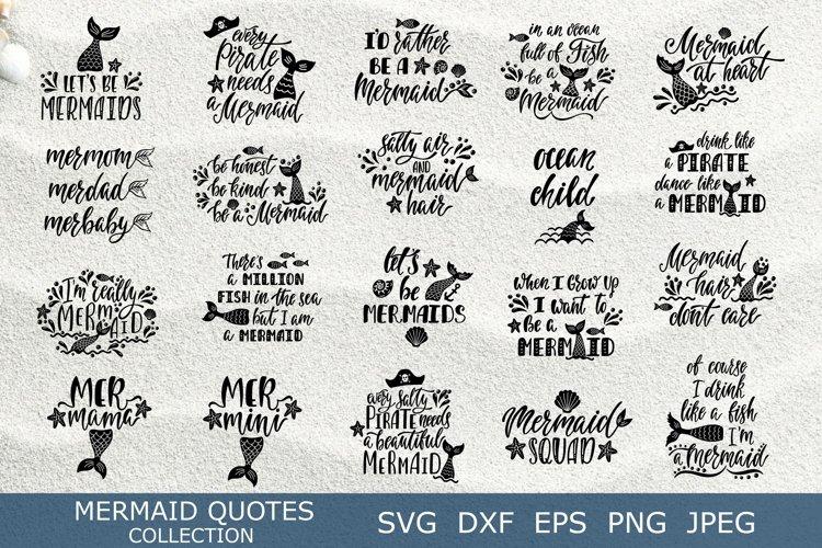 Mermaid quotes SVG bundle. 22 unique summer vector designs. example image 1