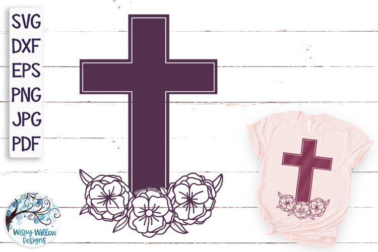 Floral Cross SVG   Cross With Flowers SVG example