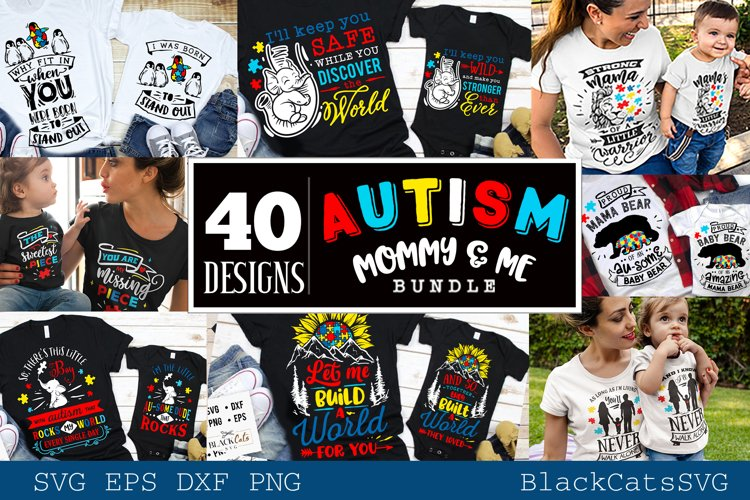 Autism mommy and me SVG bundle 40 designs