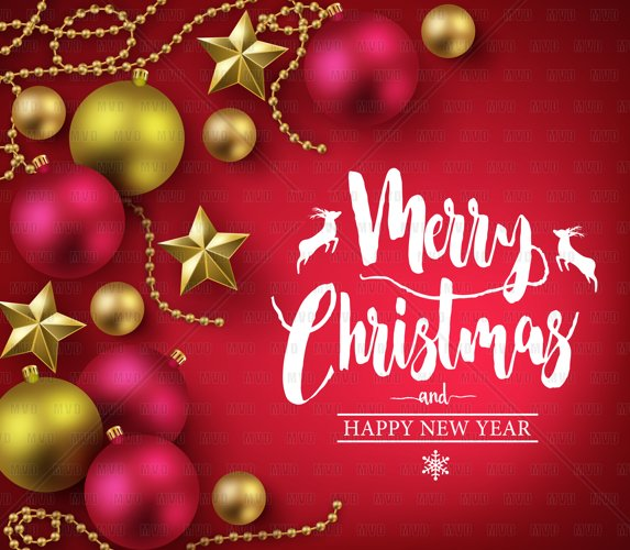 Merry Christmas and Happy New Year Typography on Red Background