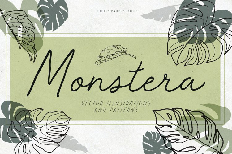 Monstera Leaf Vector Illustrations example image 1