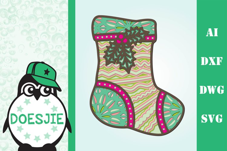 3D layered Christmas mandala stocking sock multi layer svg example image 1