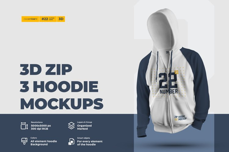 3 3D Zip Hoodie Mockups