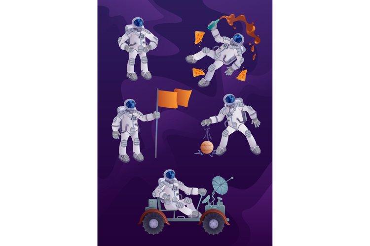 Cosmonaut 2d cartoon character illustrations kit example image 1