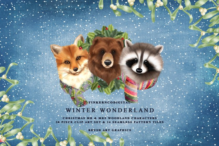 Christmas woodland clipart and Winter pattern papers.