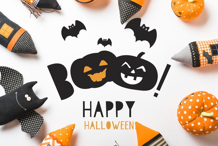 Kids Halloween Font and Graphics Set