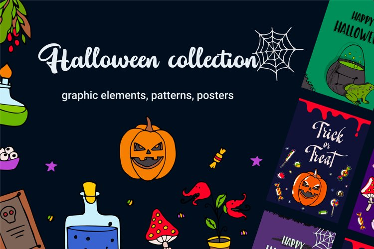 Halloween collection. Patterns, Elements, Posters