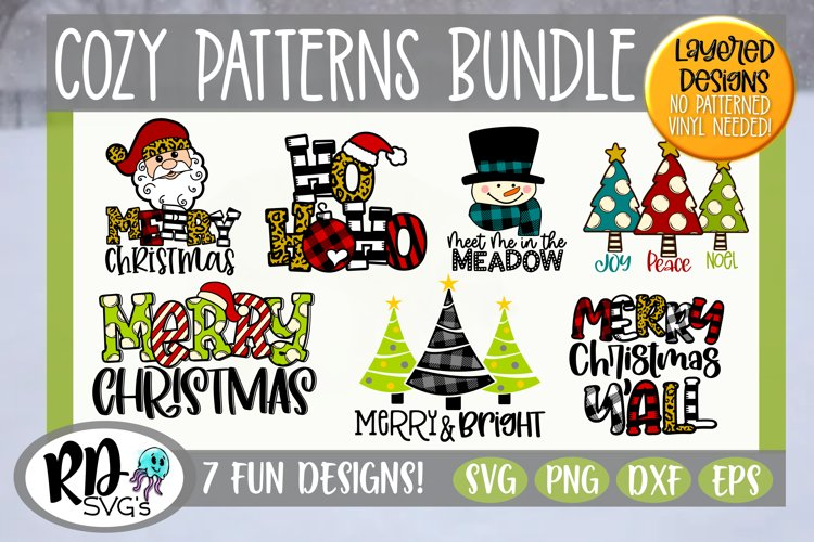 Cozy Patterns Bundle - Cricut Christmas Layered SVGs example image 1
