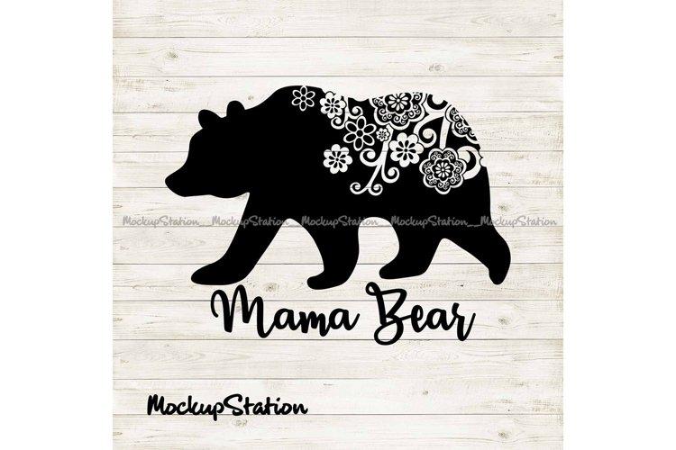 Mama bear SVG, Mothers Day png, bear floral mandala clip art example image 1