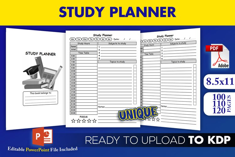 Study Planner for Students | KDP Interior Ready to Upload example image 1