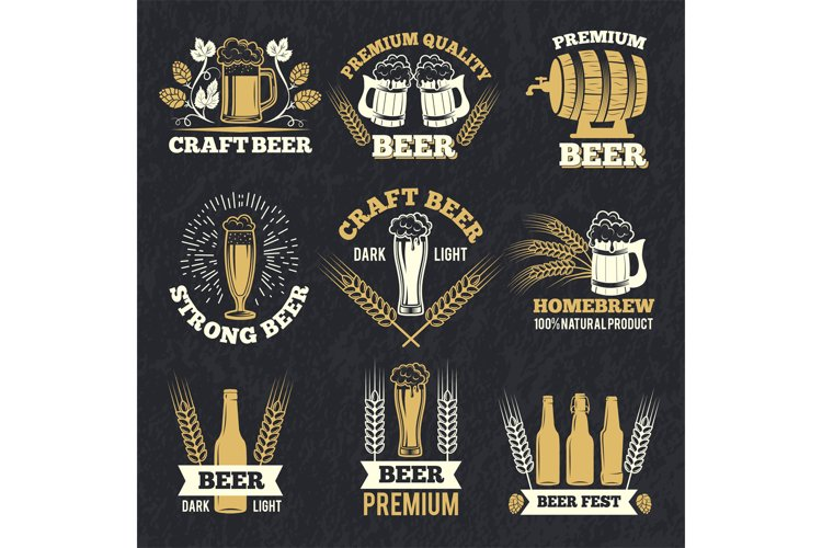 Brewery labels isolate on dark background. Badges template w example image 1