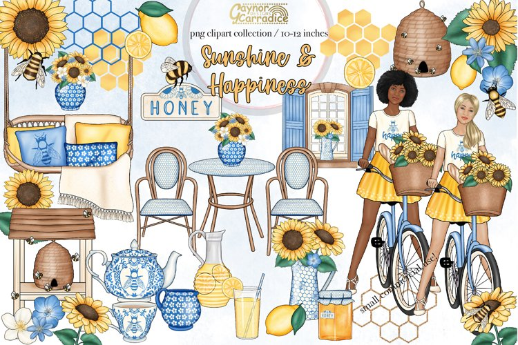 Sunshine and happiness - Sunflower and bees clipart