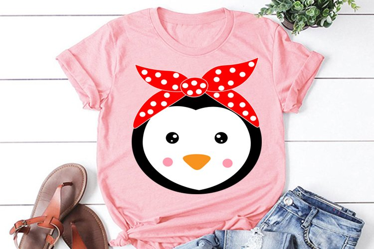 Cute penguin animal face with bandana svg file, design, clip example image 1