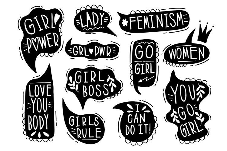 Speech set slogan femenism. example image 1