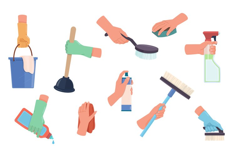 Cleaning product in hands. Detergent housekeeping tools coll example image 1