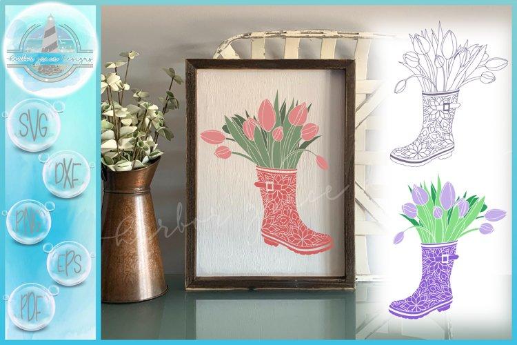 Tulips In Rain Boot Mandala SVG example image 1