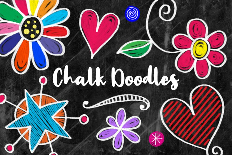 Hand Drawn Cute Chalk Board Doodles example image 1
