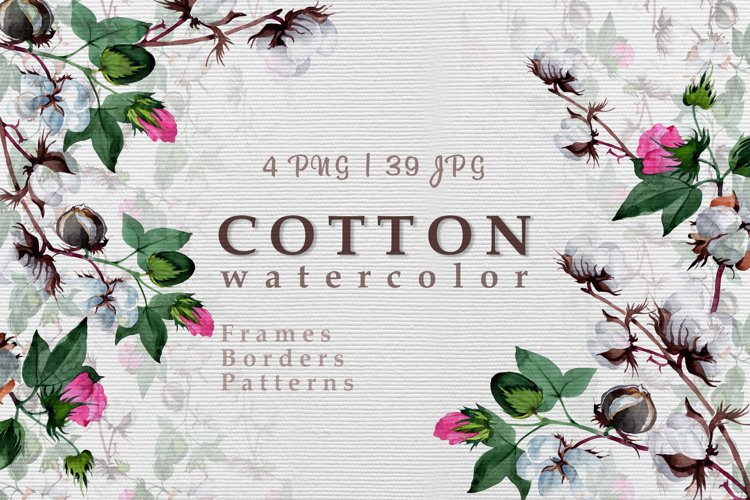Cool cotton PNG watercolor set example