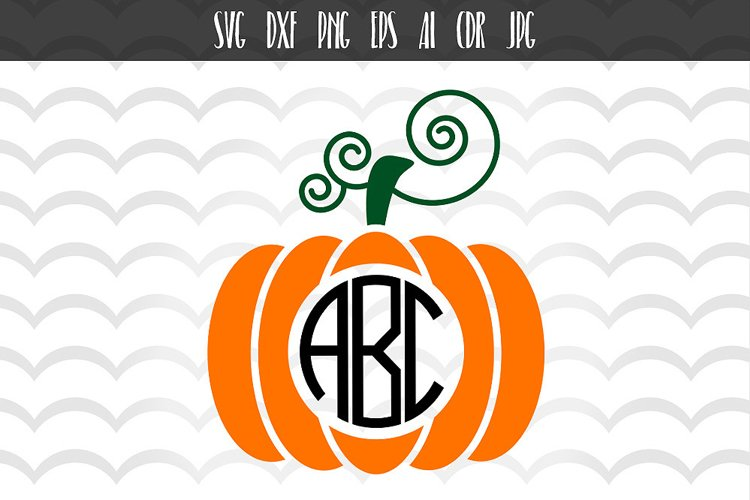 Halloween Pumpkin Svg, Thanksgiving Svg, Fall Monogram example image 1