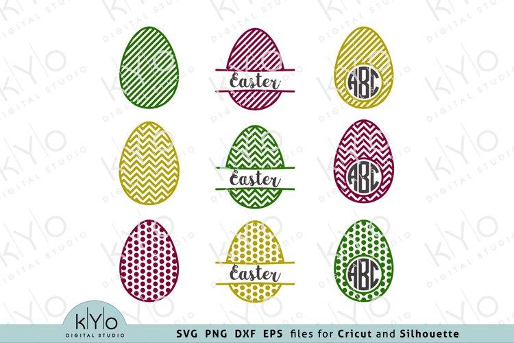 Patterned Easter Egg Monogram Bundle SVG DXF PNG EPS files