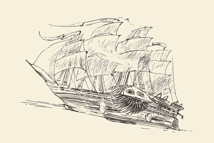 Set of engraved style ships example image 1