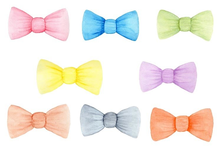 Cute Bows set, Bows ClipArt, Bows Watercolor example image 1