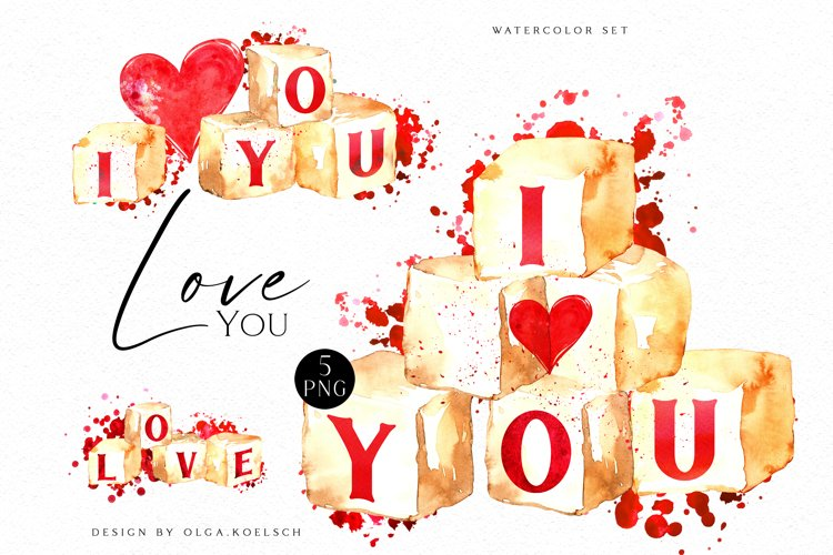 Watercolor valentine clipart, Cute valentine's cards DIY example image 1