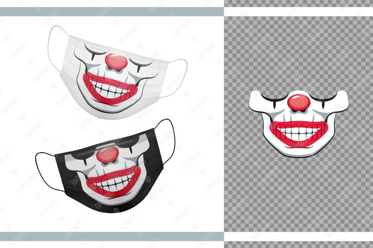Funny skull design as a Clown for protective face mask. example image 1