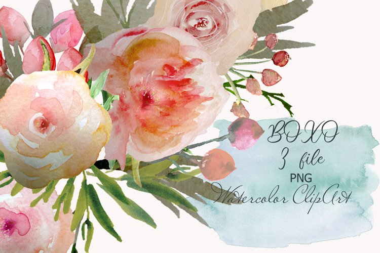 Peach Flowers Watercolor Clipart Frame