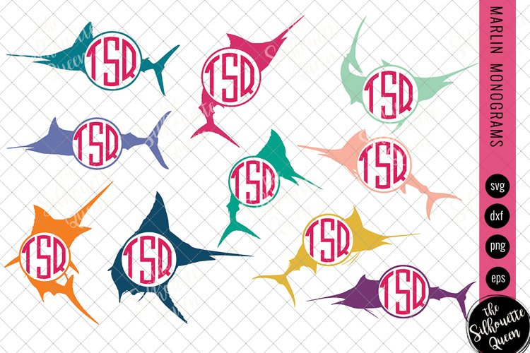 Marlin Svg, Monogram Svg, Circle Frames, Cuttable Design example image 1