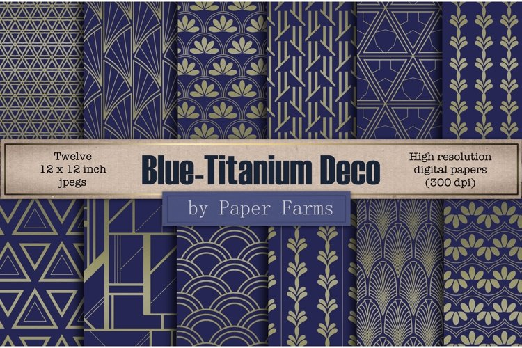 Blue titanium Art Deco backgrounds example image 1