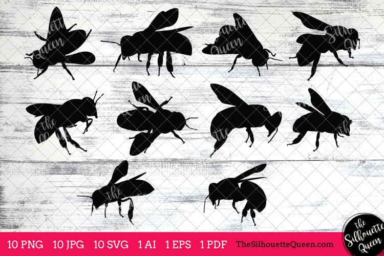 Bee Silhouettes Clipart Clip Art (AI, EPS, SVGs, JPGs, PNGs, PDF) , Bee Branch Clip Art Clipart Vectors - Commercial and Personal Use