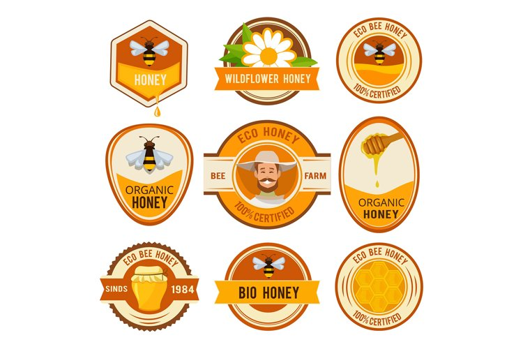 Set labels for honey. Vector template with place for your te example image 1