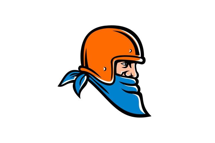 Bandit Biker Wearing Bandana and Helmet Mascot example image 1