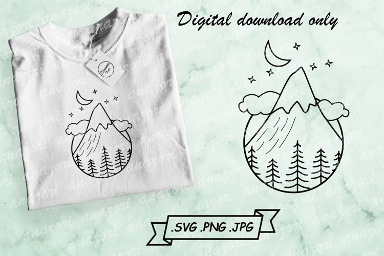 Night Mountain Scene SVG - Mountain With Forest SVG Cut File example image 1