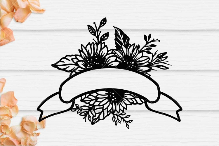 Sunflower Ribbon Banner SVG, Floral Wedding Banner SVG example image 1
